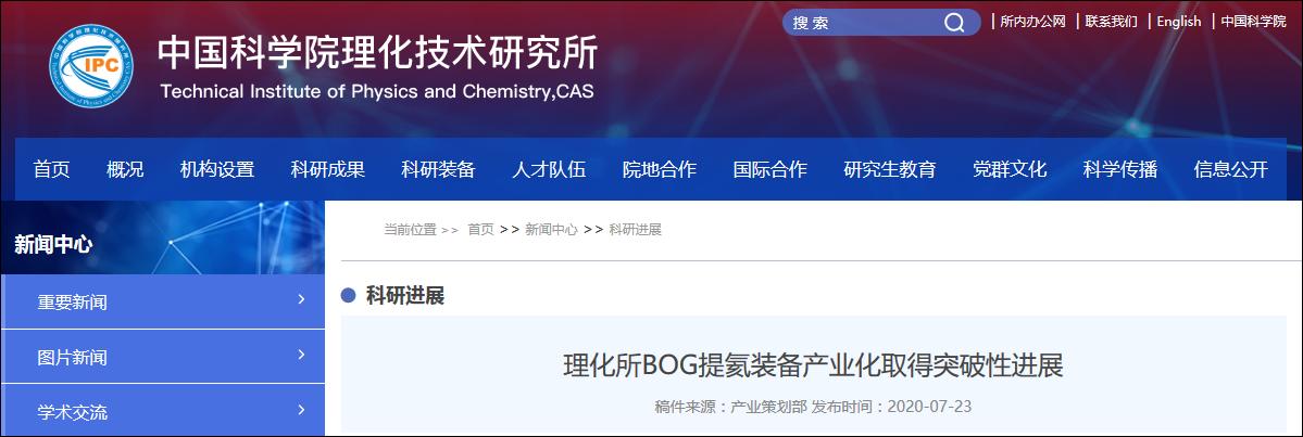 中国科学院理化手艺研究所官网截图