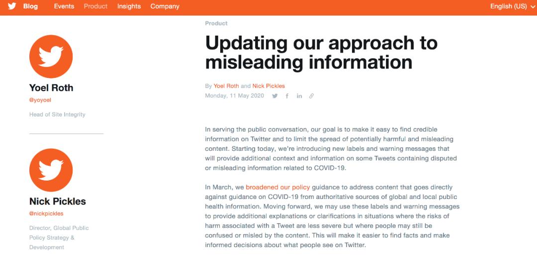 更新:我们对误导性信息的管理办法。/推特网站截图