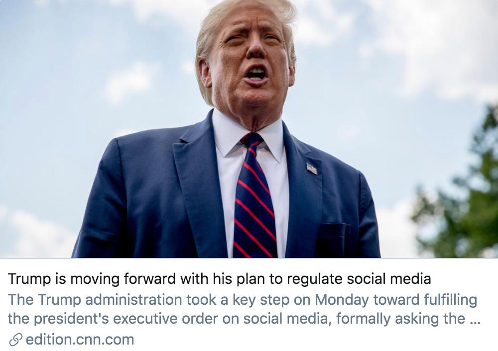 特朗普正在推进规范社交媒体的计划。/ CNN报道截图