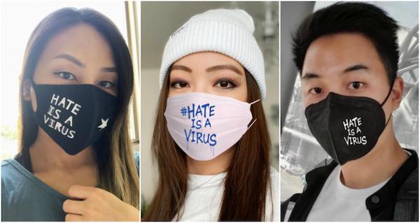 """几位亚裔青年自制了上书""""仇恨是一种病毒""""的口罩"""