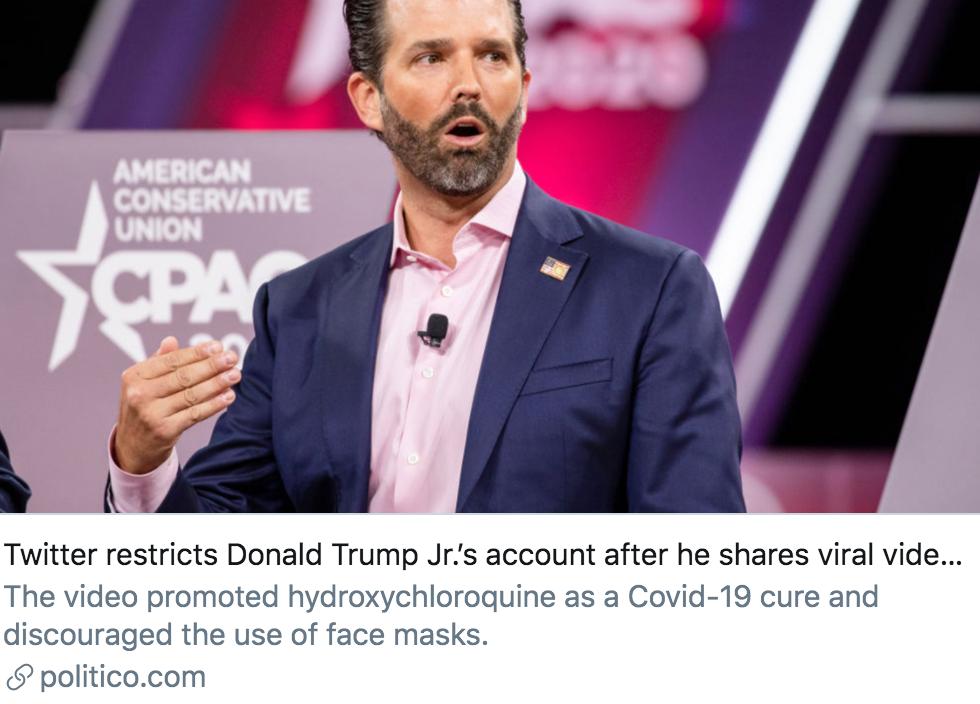 小唐纳德·特朗普分享新冠病毒相关视频后,推特对其账号进行了限制。/ politico报道截图