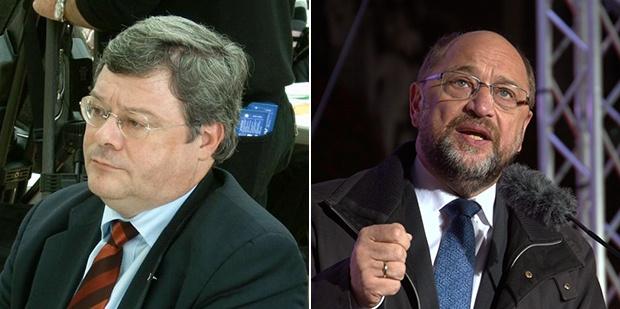 德国绿党籍议员包瑞翰(左)与欧洲议会前议长舒尔茨(右)喊话制裁中国