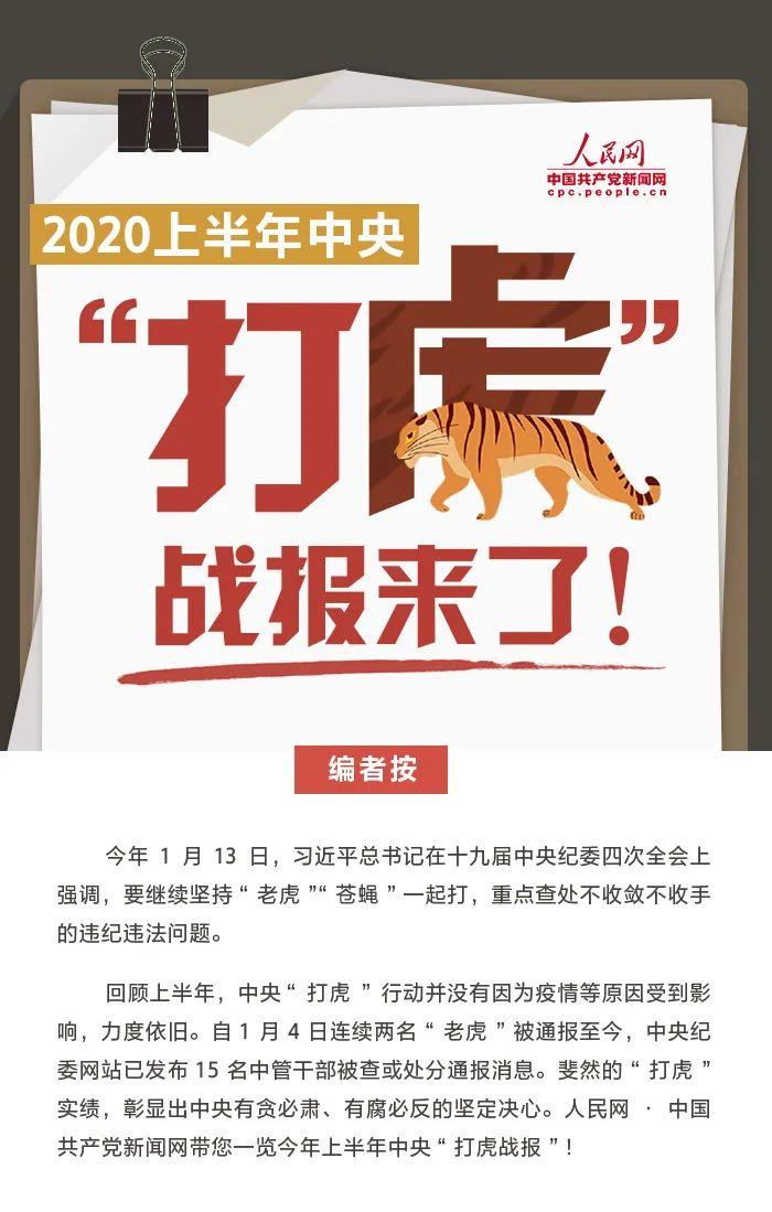 """2020上半年中央""""打虎战报"""":15名""""老虎""""被通报图片"""
