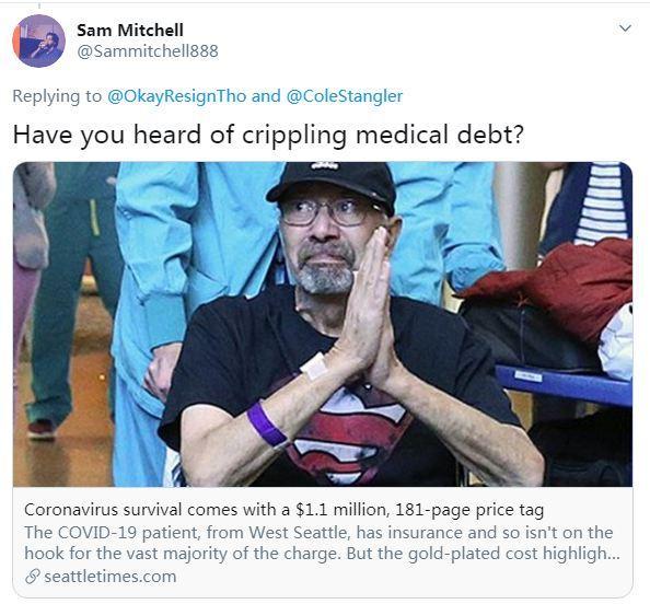 据美国《西雅图时报》6月13日报道,美国老人迈克尔·弗洛尔因患新冠肺炎住院,出院后,他收到了总价超110万美元的账单。 图片来源:社交媒体截图