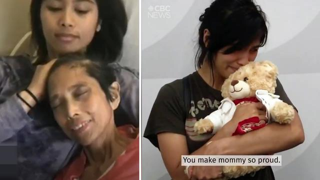 加拿大女演员怀抱被偷后找回的泰迪熊哭泣 里面录有已故妈妈的声音
