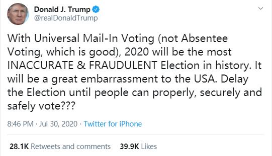 特朗普提出推迟美国大选!最大受益者却可能是她