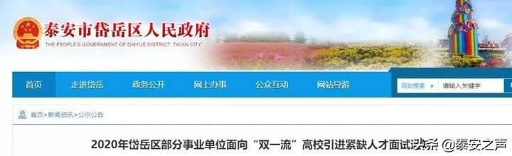 """8月9日网络面试,岱岳区面向""""双一流""""高校招聘通知发布"""