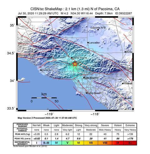 美国加州圣费尔南多发生4.2级地震 临近多县有震感