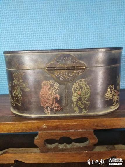 荣宝斋铜茶叶盒一个