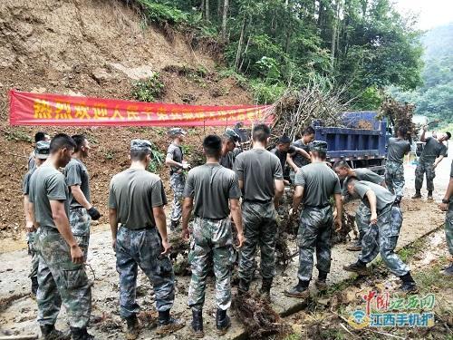 湖口县大垅乡:防汛抢险促生产 军民鱼水情更深(图)