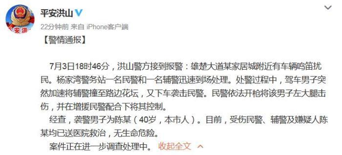 武汉一男子驾车冲撞辅警并袭击民警 警方通报