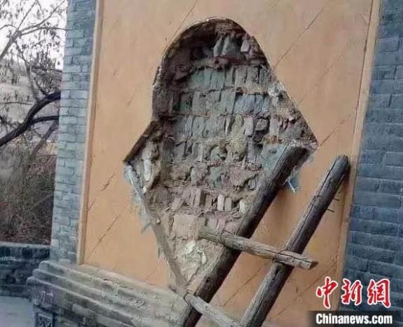 """二被告人盗窃""""二龙戏珠""""琉璃壁心文物,致使文物受到了不可逆的破坏,造成了不可弥补的损失。山西省人民检察院供图"""