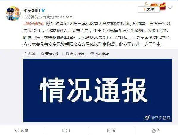 北京朝阳一男子发泄情绪从13楼抛下花盆,已被刑拘