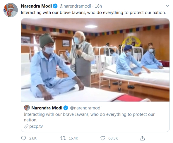 莫迪探望加勒万河谷辩论中受伤的印军士兵 莫迪推特截图