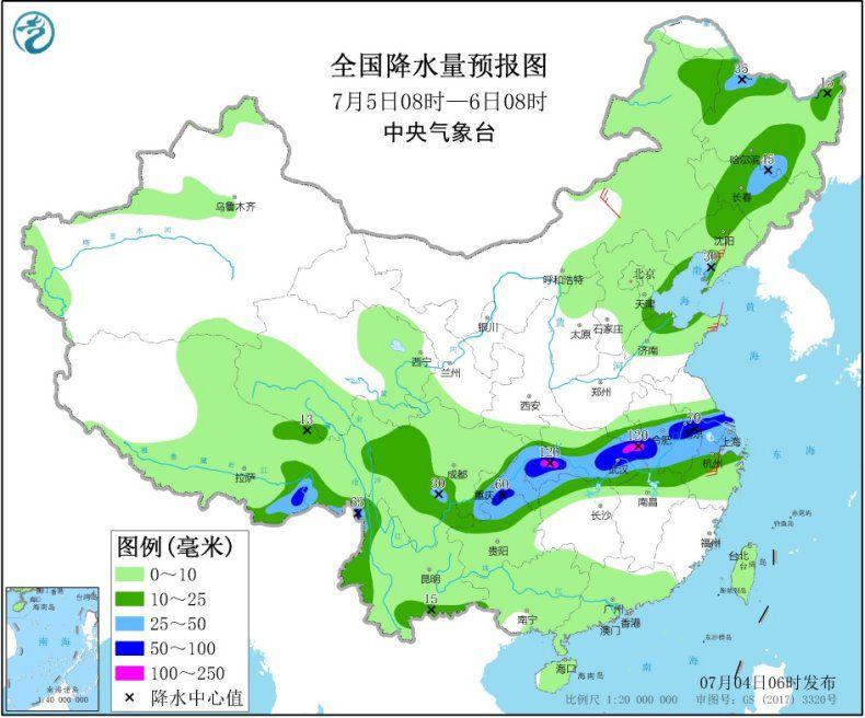 图3 全国降水量预报图(7月5日08时-6日08时)