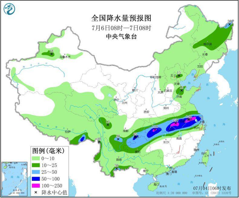 图4 全国降水量预报图(7月6日08时-7日08时)
