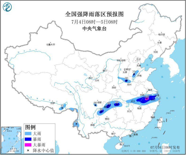 图1 全国强降雨落区预报图(7月4日08时-7月5日08时)