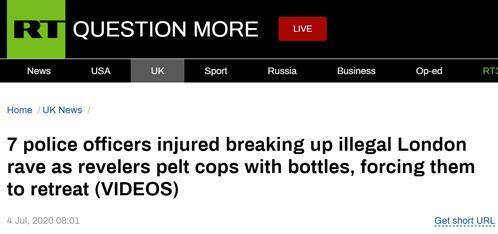 """伦敦""""街头音乐节""""暴发冲突:示威者向警察扔砖头,7名警察受伤"""