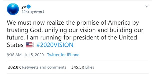 值得2020年:这个人刚刚宣布他竞选美国总统!| U。S. 总裁|美国|卡戴珊