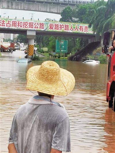 澄迈下暴雨 大丰互通桥下积水超1米