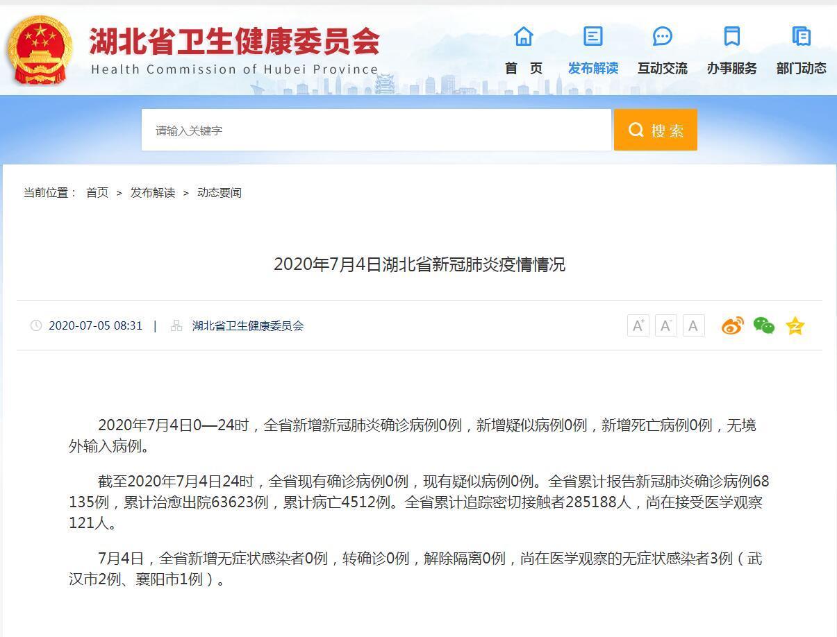 湖北省卫健委:4日新增新冠肺炎确诊病例0例