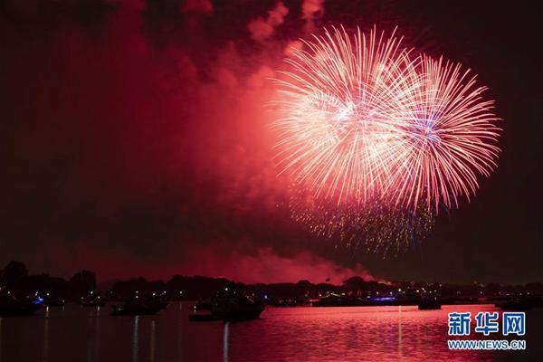 7月4日,焰火在美国华盛顿上空绽放,庆祝美国独立日。新华社记者 刘杰 摄