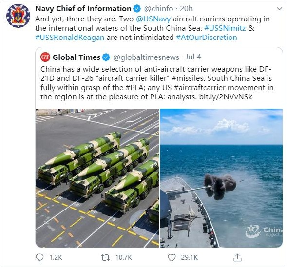 美海军叫板《环球时报》:不会被中国弹道导弹吓倒