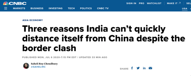 """美媒数据分析印度经济""""脱钩""""中国 难!"""