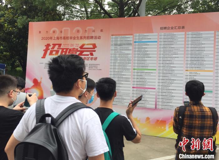 """资料图:2020年6月,上海打出雇用""""组合拳""""助力高校结业生就业,图为结业生在雇用会场。 郑莹莹 摄"""