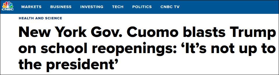 特朗普命令学校秋季重新开学,纽约州州长:你没这权力!