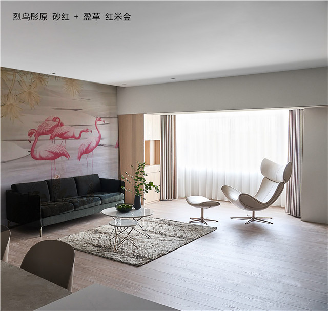 【领绣·菁华】火烈鸟墙画,美到让邻居嫉妒!