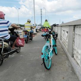 """共享单车""""精准""""停桥上"""