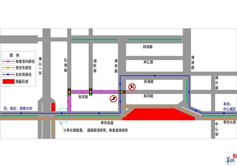 佛山禅城:季华西路(弘德路至禅秀路)东往西通行15日将恢复