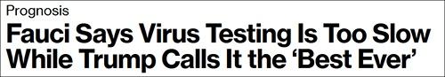 """福奇批检测太慢而特朗普吹嘘检测""""最厉害"""",彭博社8月6日报道截图"""