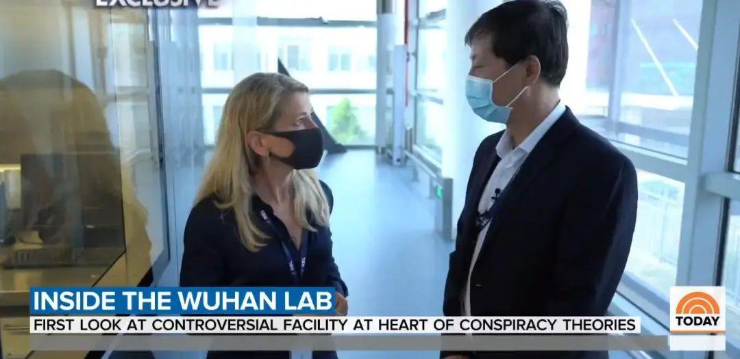 美国记者在武汉病毒所内 视频截图下同