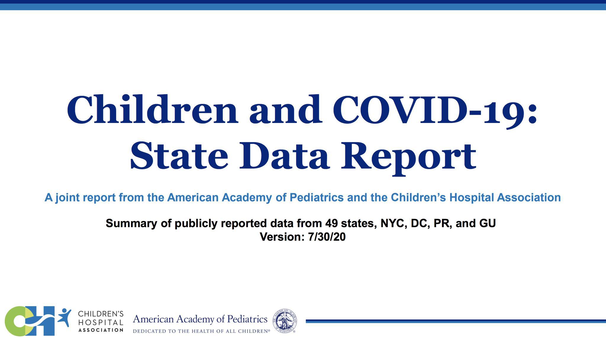 当地时间7月30日,美国儿科学会发布儿童感染新冠病毒的报告。