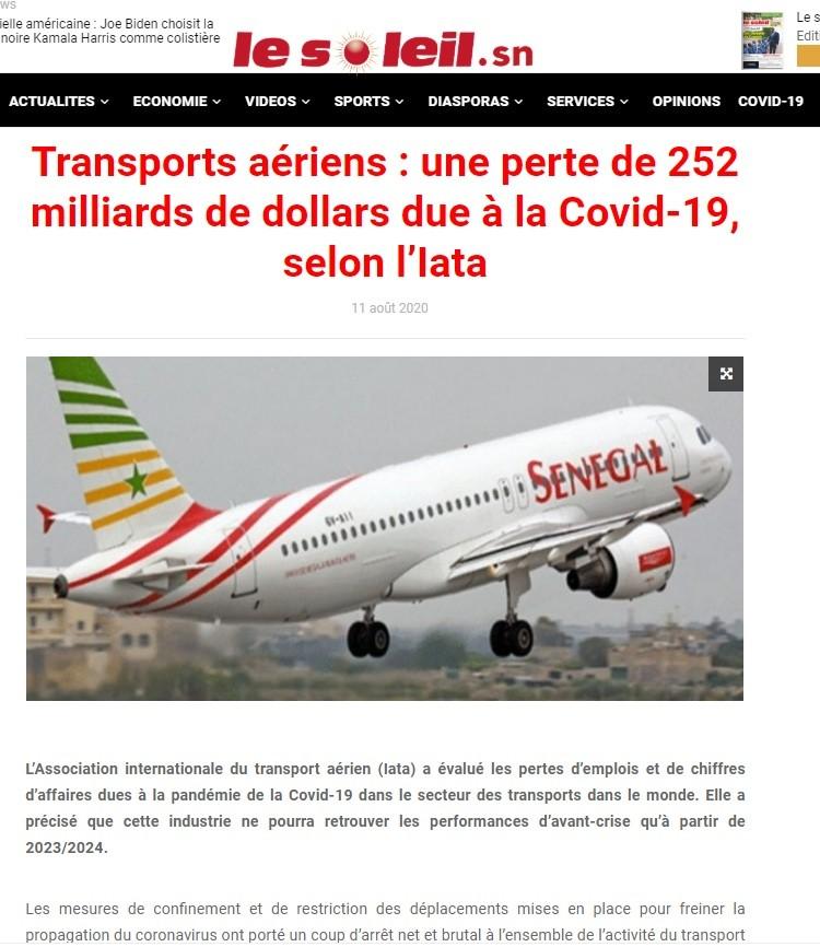 全球航空业因新冠肺炎疫情收入损失将达2520亿美元