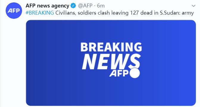 南苏丹政府军与持枪民众交火,死亡人数升至127人