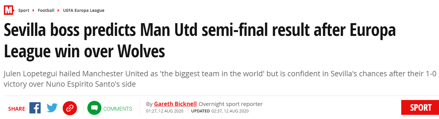 洛佩特吉:曼联是足坛最大豪门,但我们会击败他们
