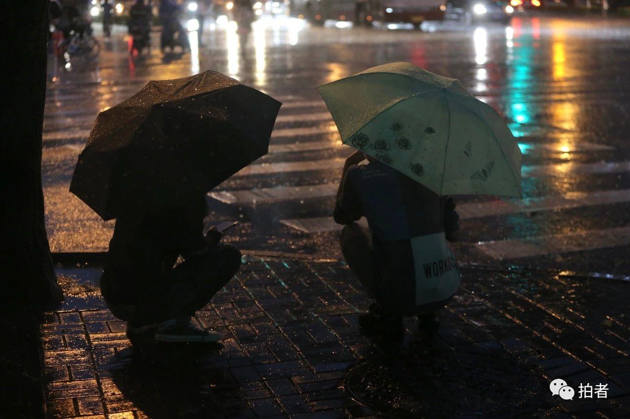 △苏州街,蹲在路边等红绿灯的行人。摄影/新京报记者郑新洽