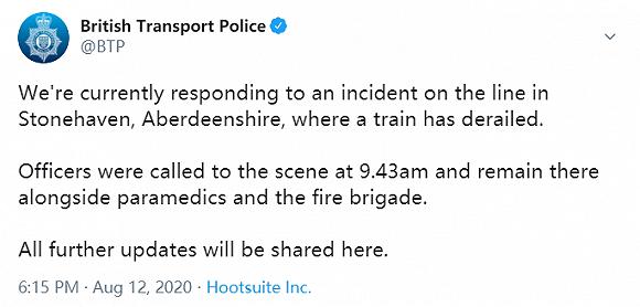 苏格兰阿伯丁郡发生火车出轨事故