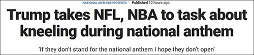 """特朗普""""炮轰""""NBA球员:你们不尊重美国国旗和国歌!"""
