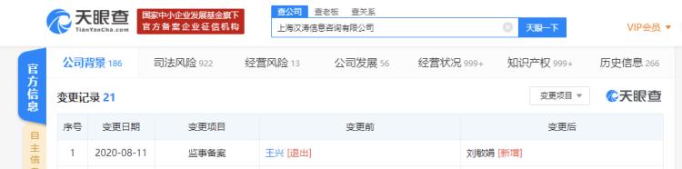 王兴退出大众点评关联公司监事,刘敏娟接任