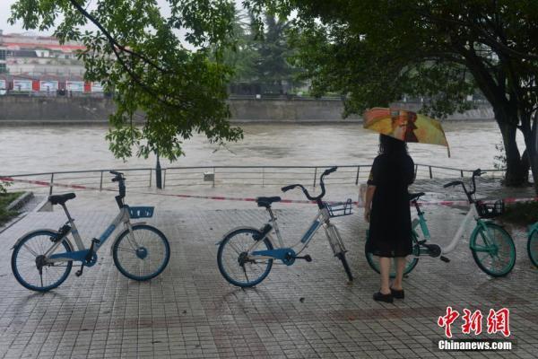 成都遭遇暴雨袭击 城市河流超警戒水位【组图】