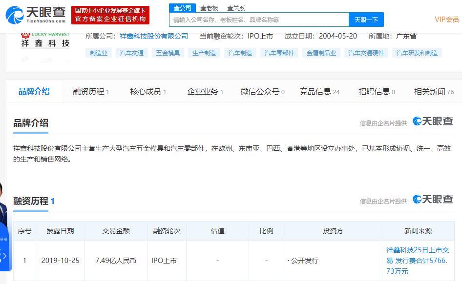 祥鑫科技称与恒大恒驰汽车初步建立合作关系 具体仍在洽谈