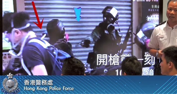 警员开枪前,暴徒持铁管状武器袭击警员 警方记者会片段