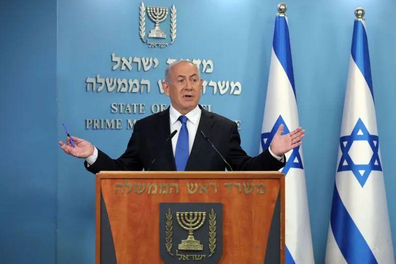 以色列总理内塔尼亚胡在发表关于以色列与阿联酋和平协议的演说