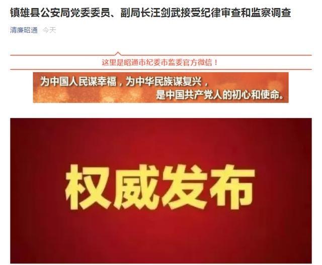 涉嫌严重违纪违法!镇雄县公安局党委委员、副局长汪剑武被查