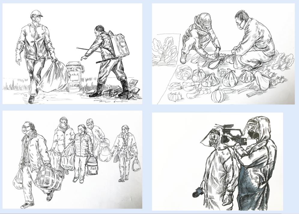 """中国国家博物馆收藏地大人《武汉战""""疫""""》钢笔画稿20幅"""