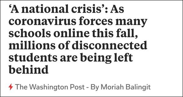 """疫情之下 美国上百万学生因为网络""""无学可上"""""""